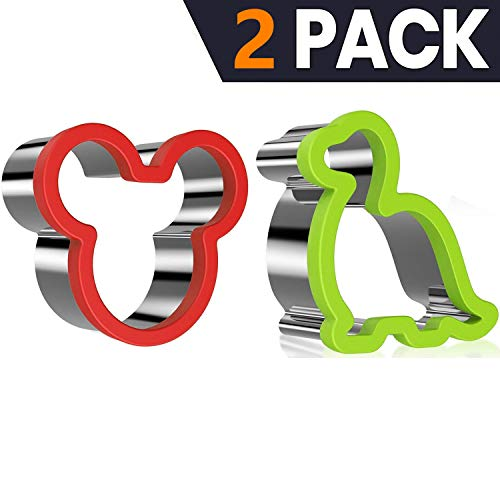 2 Pack Vegetable Fruit Melon Cutter Mickey Mouse Cookie Cutter for kids, Sturdy Stainless Steel Cute Shaped Sandwiches Cutters, Dinosaur Biscuit Mold ()