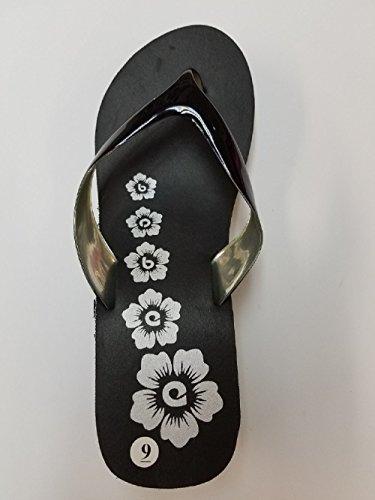 Bobee Kvinners To Skinnende Stropp Blomsterdesign Kile Plattform Strand Flip Flop Sandaler Svart