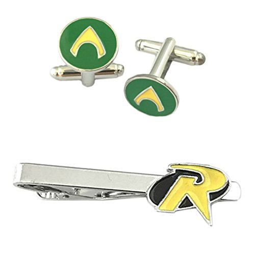 Outlander DC Comics - Aquaman Cufflink & Robin Tiebar - Set of 2 Wedding Superhero Logo w/Gift Box by Outlander
