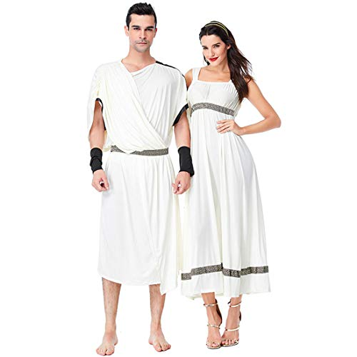(LY-VV Adult Couple Costume Greek Queen King Costume Pretend Play Dress Up Clothes)
