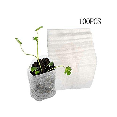 Bettal 100Pcs Biodegradable Non-woven Nursery Bags Plant Grow Bags Fabric Seedling Pots (9 cm x 10cm)