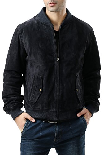 BGSD Men's Suede Leather Baseball Bomber Jacket,Navy,Medium ()