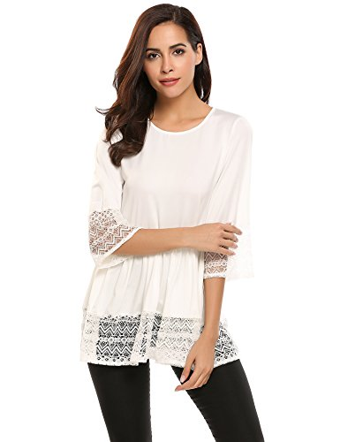 Ladies White Baby Doll Tee - Zeagoo Womens Casual 3 4 Sleeve Loose Fitting Blouse Cute Lace Babydoll Tops T Shirts (Medium, White)