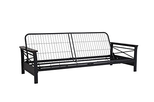DHP Nadine Metal Futon Frame with Espresso Wood Armrests, Full Size, Mattress Not Included