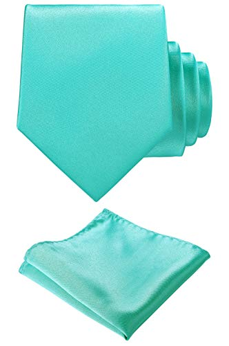 Solid color Neck tie.Pocket Square,Gift Box set. (Aqua)