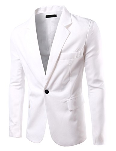 Pishon Men's Slim Fit Blazer Jacket Solid Cotton Casual One Button Sport Coats, White, US size 36R(Tag size L) (Blazer Coat)