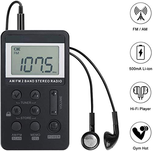 Pocket Small Radio by,Portable Radio,Mini Radio, FM AM Radio,Portable Digital Tuning Transistor Radios with Best Reception,Rechargeable Battery and Personal Mini Stereo Radio with Headphones (Black)