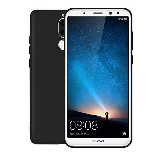 Funda para Huawei Mate 10 Lite , IJIA Puro Negro Hermoso Flor De Pera TPU Silicona Suave Cover Tapa Caso Parachoques Carcasa Cubierta Case para Huawei Mate 10 Lite (5.9) Black-WM110