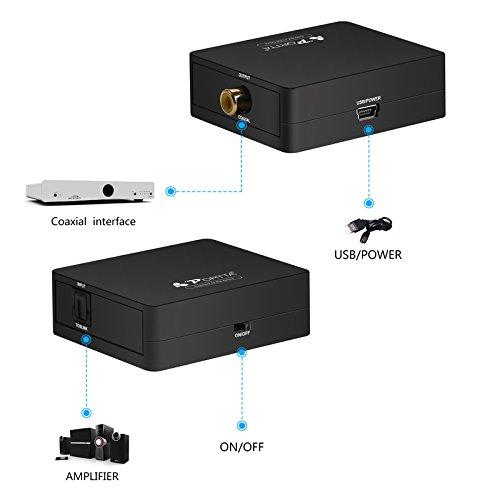 Portta Audio Convertidor Converter SPDIF Optical Toslink a Digital Coax Coaxial Convertidor Admite 2.1ch 5.1ch LPCM2.0 DTS Dolby-AC3: Amazon.es: Electrónica
