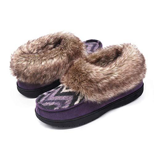 Zigzagger Womens Chevron Print Slipper Bootie with Faux Rabbit Fur Collar, Purple, 10 M US -