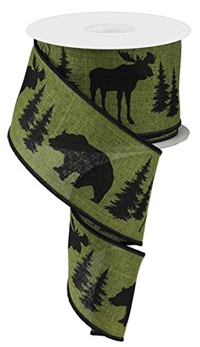 - Moose, Bear, and Deer Wired Edge Ribbon, 2.5