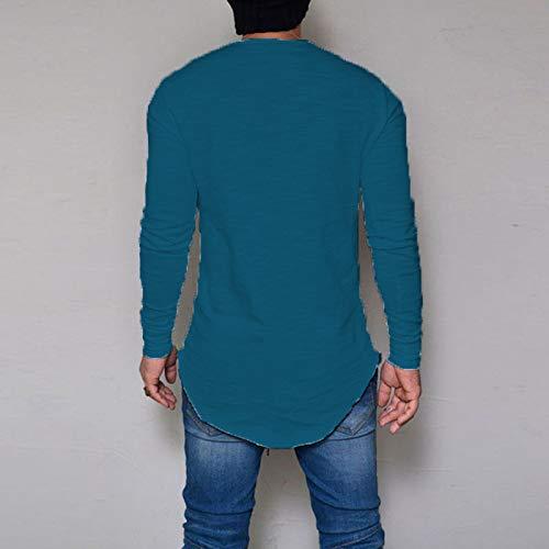 A Bianco Pullover T M Manica Collo Blu Maglia Elasticizzata shirt Tinta Cikuso Size Uomo Unita Tee Fit Moda Lunga O Formale Plus Basic Top Casual Slim w8Zaxgq