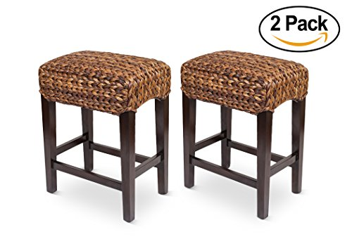 Bird Rock Home Seagrass Backless Counter Stool Set of 2 Handwoven Natural Fibers Fully Assembled