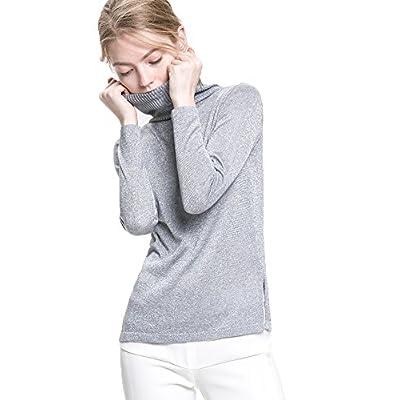 Wholesale ezShe Women's Turtleneck Long Sleeve Cannetille Casual Sweaters