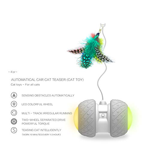 Cat Interactive Toy-Smart Interactive Cat Feather Toys Upgraded USB Charging 360 Degree Self Rotating Automatic LED Light Ball Toy for Pet Entertainment Hunting Exercise-Battery Included 4