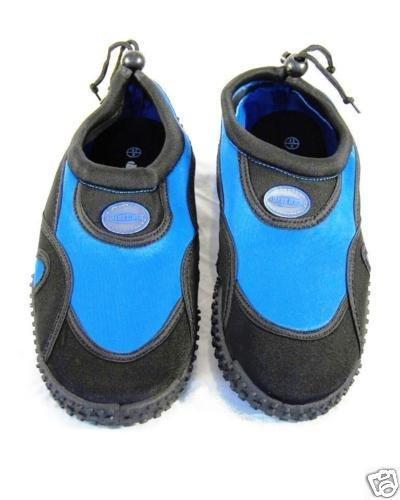Azul Aqua zapatos de neopreno playa Rush Mens negro y azul real