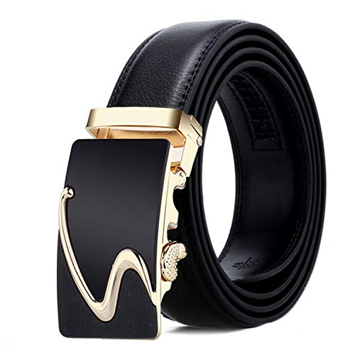 Men Belt Male Strap Belts For Men Automatic Buckle black Belts,NE330 gold,130cm 41to44 -