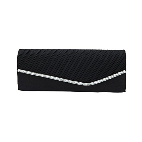 Evening Flap Clutch Black amp; Bag Avail Satin Crystal Elegant Diff Pleated Colors wXIx7BnYY