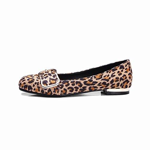 Carolbar Kvinna Fyrkantig Tå Leopard Slip-on Tillfälliga Dagdrivare Lägenheter Gul Leopard