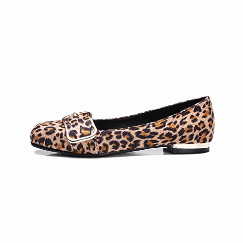 Sjarm Fot Kvinners Komfort Leopard Print Flat Loafer Sko Gul