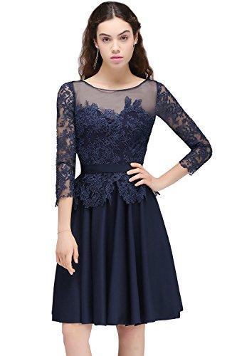 MisShow Lace Applique A Line Mother Of Bride Dresses 2017 Short Bridesmaid Gowns US4