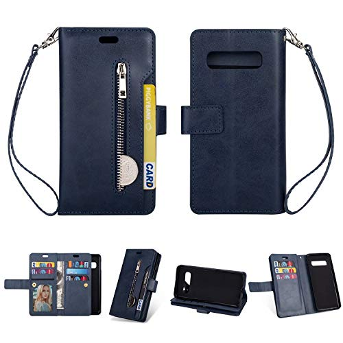 Galaxy S10 Plus Wallet Case, Ankoe [9 Card Slots] [Photo&Wallet Pocket] Kickstand Multi-Function Premium PU Leather Magnetic Flip Shockproof Zipper Wallet Case for Samsung Galaxy S10 Plus (Blue) ()
