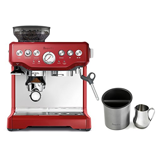 Breville Barista Express Cranberry Red Espresso Machine with Knock Box and 19 Ounce Milk Steamer Jug