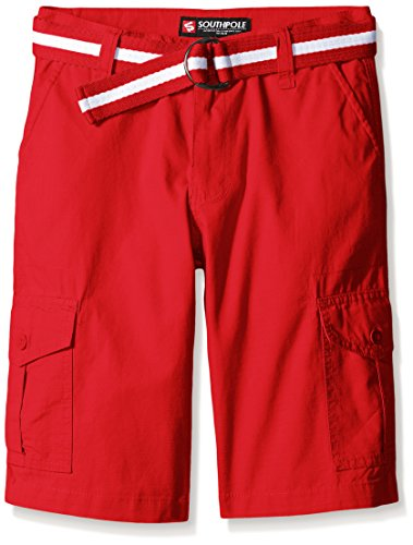 Southpole Boys' Big Belted Ripstop Basic Cargo Shorts, Red, 8]()