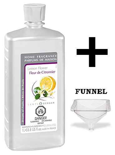 Lampe Berger Fragrance - Lemon Flower - 33.8 Ounce with FREE Funnel by Lampe Berger