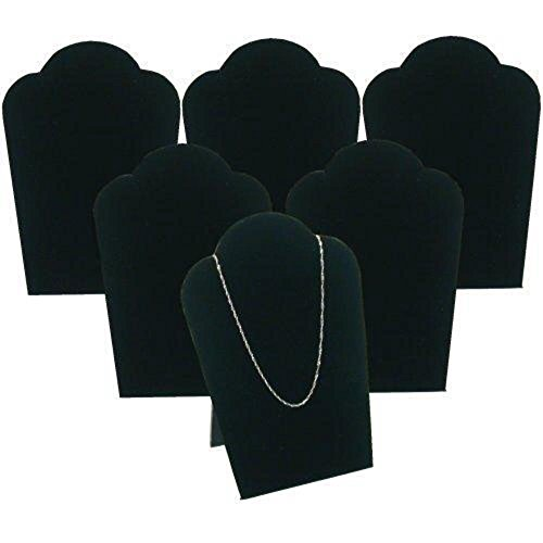 6 Black Velvet Necklace Pendant Jewelry Bust Display Easel 3 3/4