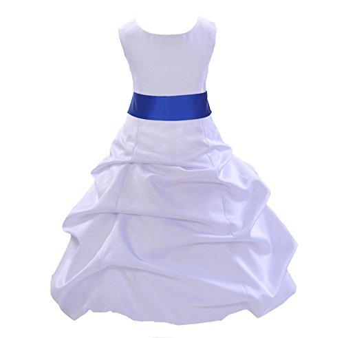 ekidsbridal White Satin Pick-Up Bubble Flower Girl Dresses Special Occasions 806S 10