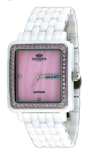 - Oniss #ON7700-L Women's Rectangular Crystal Accented Bezel MOP Dial White Ceramic Watch