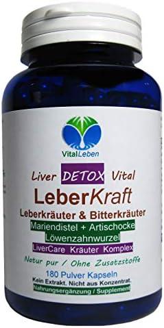 Leber Kraft Liver Care DETOX Vital Komplex Leberkräuter & Bitterkräuter 180 Kapseln Mariendistel + Artischocke + Löwenzahn NATUR pur OHNE Zusatzstoffe. 26525-180