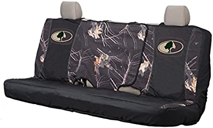 Black//Country Water Resistant 600D Polyester Mossy Oak Camo Bench Seat Cover Bench-Seat Cover with Fold-Down Center Console Access Full Size