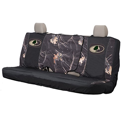 (Mossy Oak Camo Bench Seat Cover, Black/Country, Full Size, Bench-Seat Cover with Fold-Down Center Console Access, Water Resistant 600D Polyester)