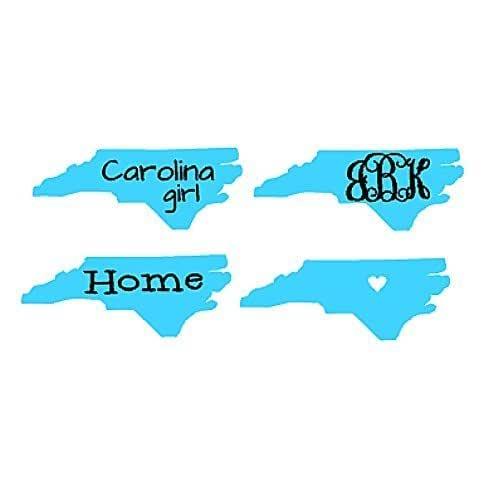 Amazon Com North Carolina State Decal Monogram Decal Carolina Girl Decal Heart Decal North Carolina Sticker Handmade