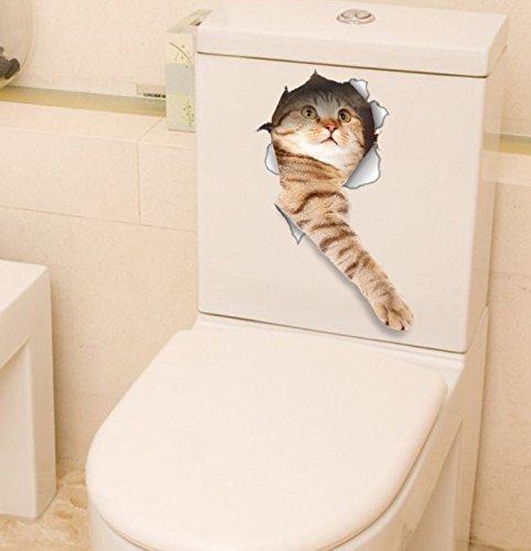 BANCN DIY Decalcomanie della parete del gatto 3D di 2 pezzi per le camere dei bambini Divertenti animali Wall Art Sticker Decor