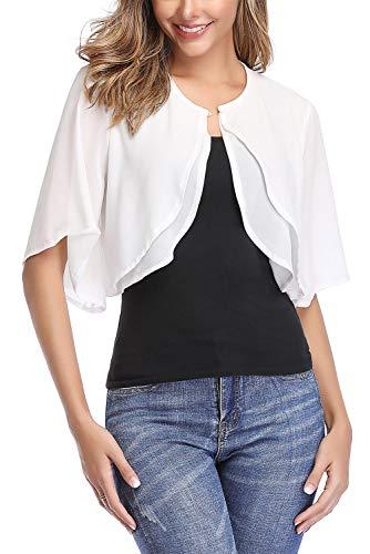 Aranmei Women's Short Sleeve Shrug Sheer Cropped Cardigan Chiffon Bolero Jacket (White XX-Large)