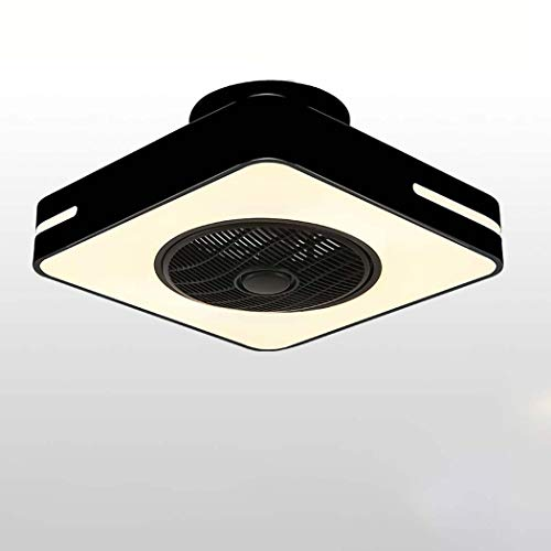 LED Ceiling Fans With Light,Dimmable Modern Acrylic Chandeliers With Remote,Flush Mount Ceiling Lamp Decoration Living Room Dinner Room(4 ABS Blades),3000K-6500K ( Color : Black , Shape : 48cm )