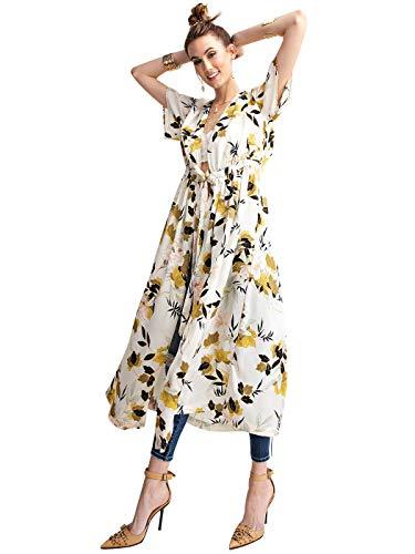 Anna Dress In Teal - Anna-Kaci Womens Silky Long Floral Kimono Short Sleeve Beach Swimwear Cardigan, Cream, Large