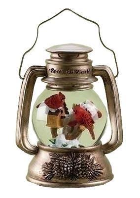 Musical Cardinals Lantern Christmas Glitter Dome Snowglobe