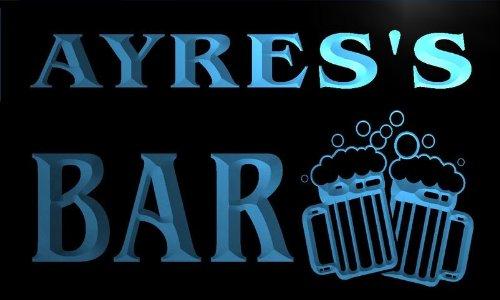 w003025-b AYRES'S Name Home Bar Pub Beer Mugs Cheers Neon Light Sign