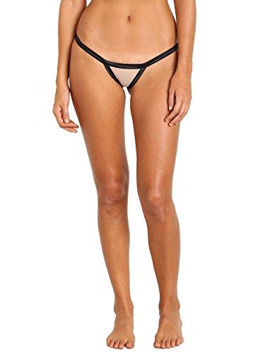 Beach Bunny Love Haus Stripe Illusion Cheeky Panty Black/Nude