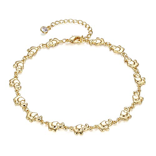 LOYATA Dainty Ankle Bracelet, 14K Gold Plated Link Chain Anklet Cute Elephant Delicate Star Tiny Cross Foot Jewelry Boho Ankle Bracelets for Women (Elephant)