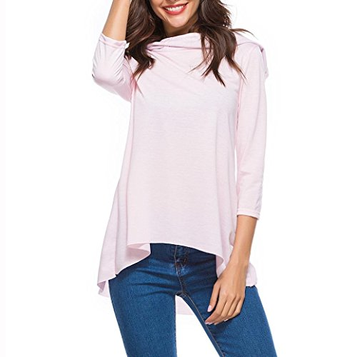 Women Casual Long Sleeve Hooded Pullover Sweatshirt Solid Color Loose Blouses Tops (Pink, US:12) by Kinrui