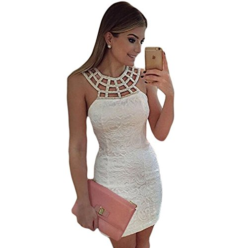 Sunne Caged Round Neck White Lace Mini Dress