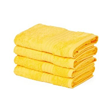 Goza Towels Cotton Large Hand Towels (20 x 35 inches) (Golden Yellow, 4 Pack)