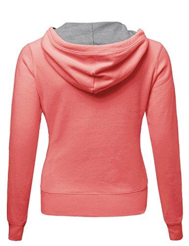 Warm Fleece Zip up Hoodie Thermal Contrast Plus Size Pink Size 1XL