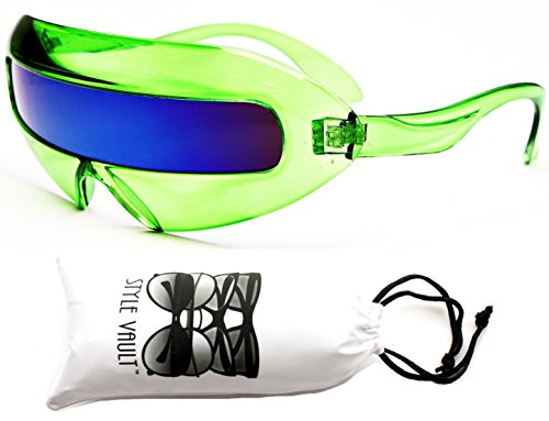 [V160-vp Style Vault Robot Space Party Sunglasses (1230 Crystal Green-Blue, mirrored)] (Robocop Halloween Costume)