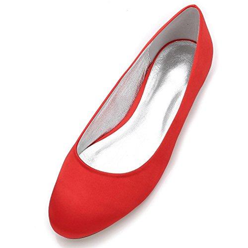 Red De Cerrado Mujeres Seda 17 La del Planos De De Zapatos Cabeza De La Punta Boda Zapatos De Las F5049 Pie Satinado SatéN Redonda qFCg6